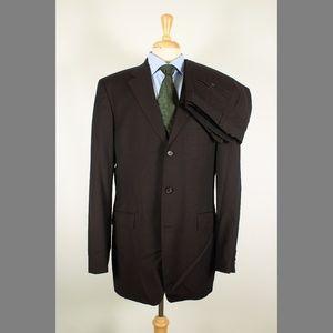 Hugo Boss 42L 36x33 Pleat Brown Suit 97-P